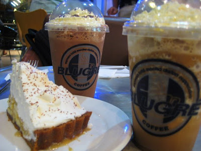 BluGre specials: Mocha and White Mocha Larcepuccino, with Banana Cream Pie