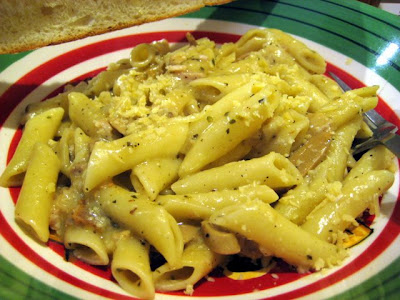 Isaac's Pasta: Drizzled in white sauce, mushrooms, herbs, and loads of parmesan cheese
