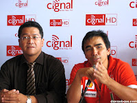 At the Cignal Press Launch in Ristorante Spirale: Dominic Aba (Samsung) and Jose Benjamin Fernandez (Mediascape)