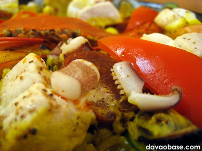Tiny Kitchen's Paella Valencia is loaded with seafood favorites: crab, shrimp, fish and squid