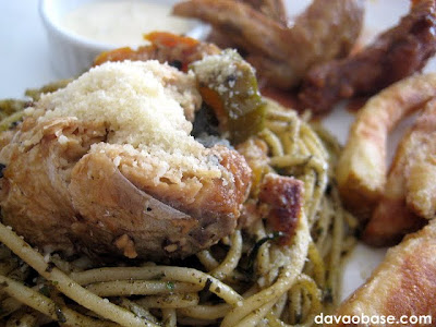 Pesto topped with Spanish Style Bangus and Parmesan Cheese at Wings & Dips
