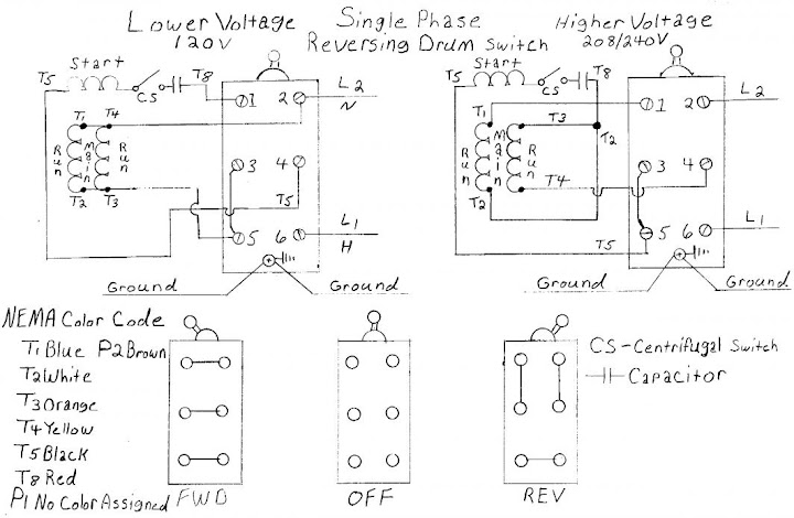 Single Phase Reversing Drum Switch 9a furnas switch & dayton motor wiring puzzle furnas reversing switch wiring diagram at crackthecode.co
