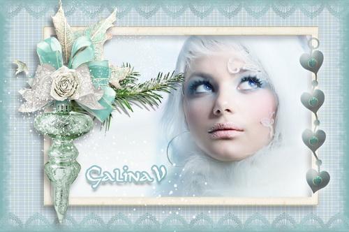 Новогодняя рамка - Зима в бирюзе
