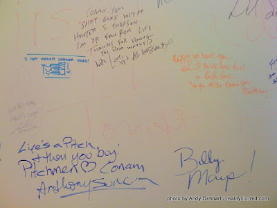 Billy Mays' signature on Conan's wall