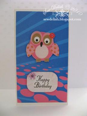 Papermania Honey and hugs owl birthday card Sewdelish