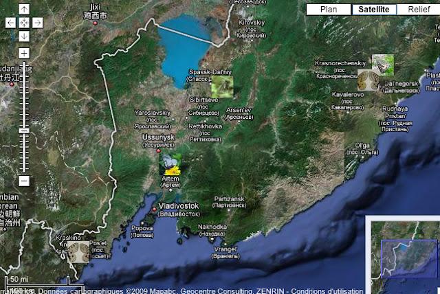 Localisation des photos en Oussouri