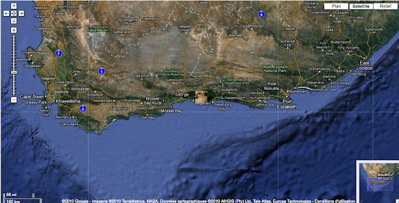 Localisation de Brenton-on-Sea à l'Est de Cape Town