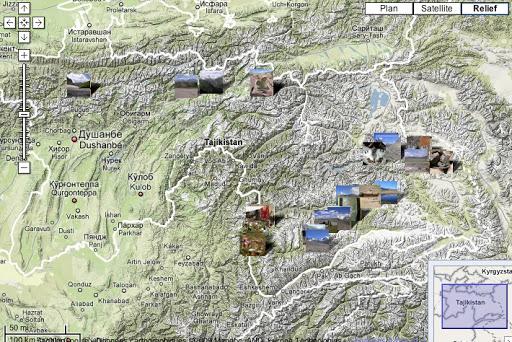 Localisation des photos Tadjikistan juillet-août 2007