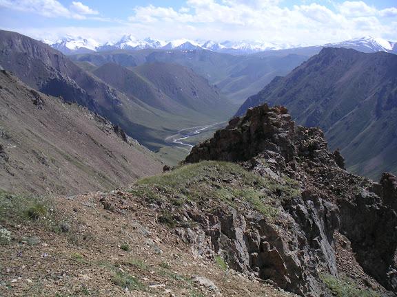 Vallée de la rivière Ottuk en direction de la vallée de la Sary-Jaz, au Sud-Est du col Chongashuu (Karakol E), Terskei Ala Too, Kirghizstan, 7 juillet 2006. F. Michel. À l'arrière plan : la chaîne du Sary-Jaz.