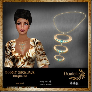 DANIELLE Boomy Necklace Turquoise on gold'