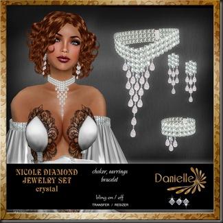 DANIELLE Nicole Diamond Jewelry Set Crystal'
