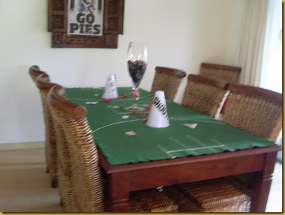 Footy tablecloth decorated