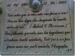 Imagem do post Saudade, amor e gratidão, de 2007.