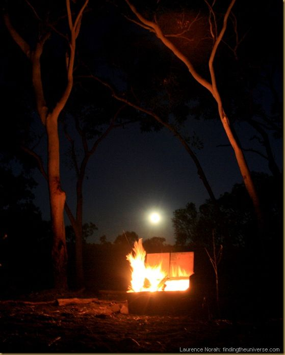 Outback campfire with moon rise - Northern Territory - Australia