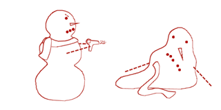 Snowmen in Redwork