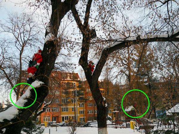 Moşi spânzuraţi în parcul din centrul oraşului Gura Humorului