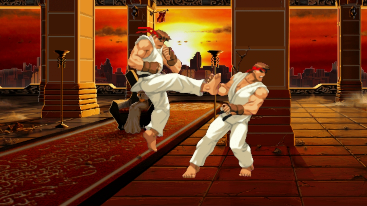 Ryu performs the Tatsumaki Senpuu Kyaku (Hurricane Kick)