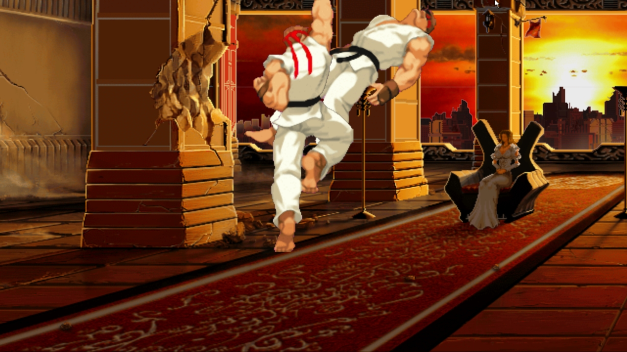 Ryu performs the Shoryuken (Dragon Punch)
