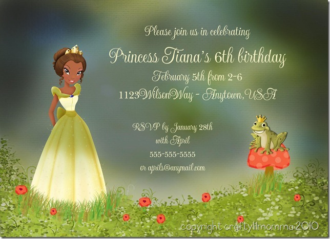 princess and the frog invite