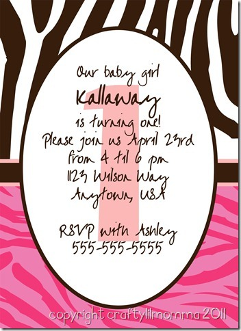 hot pink zebra invite