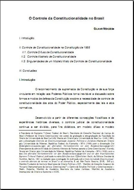 O Controle da Constitucionalidade no Brasil
