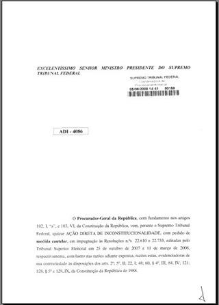 ADI 4086 Constitucionalidade Procedimento Perda Mandato Infidelidade Partidária