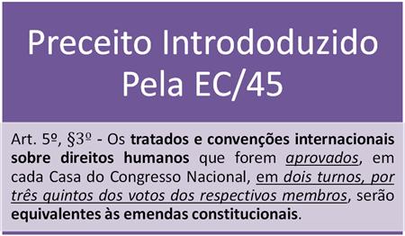 Art. 5º, §3º da CF -  Os tratados e convenções internacionais sobre direitos humanos que forem aprovados, em cada Casa do Congresso Nacional, em dois turnos, por três quintos dos votos dos respectivos membros, serão equivalentes às emendas constitucionais.