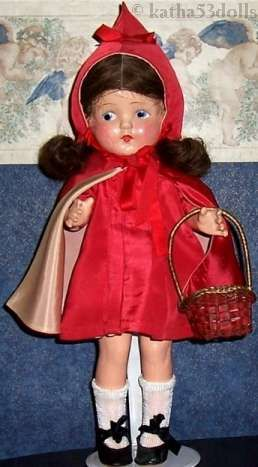 Composition doll Little Red Riding Hood 1930s