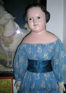 Antique doll papier-mch pre-Greiner 1860s
