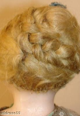 Antique wax doll human hair wig French Fashion 1880s 1890s