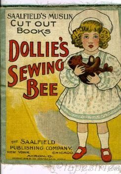 Antique printed cloth doll Dollie's Sewing Bee Saalfield muslin pattern 1900s