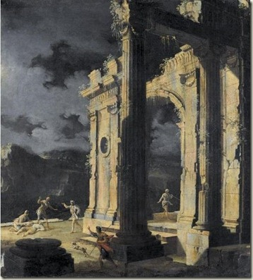 539px-An_architectural_capriccio_with_figures_amongst_ruins_under_a_stormy_night_sky,_oil_on_canvas_painting_by_Leonardo_Coccorante