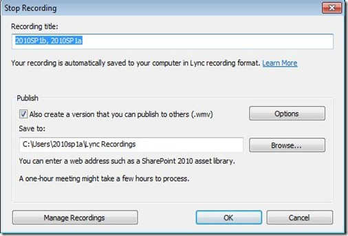 LyncRec - Client - Recording - StopOptions