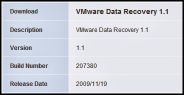 Checking VMware Data Recovery (vDR) build versions to verify latest code.