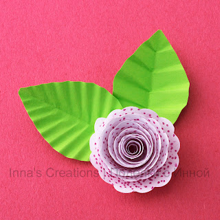 Paper rose with leaves