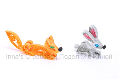 Fox & hare, paper quilling