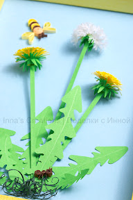 Quilled dandelions, detail