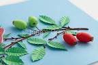 Dog-rose hips, 3D quilling
