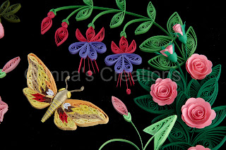 Quilled moth, fuchsia and roses