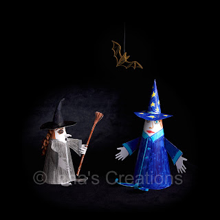 Paper craft witch and wizard