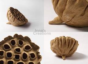 Lotus seedpod clay sculpture, details