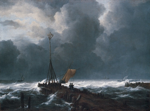 Jacob Isaakszoon van Ruisdael - Rough Sea at a Jetty 1650s