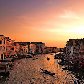 golden hour at grand canal, venice by Abhinav Ganorkar - City,  Street & Park  Historic Districts ( venice, bridge, italy, historic, golden hour, sunset, sunrise,  )