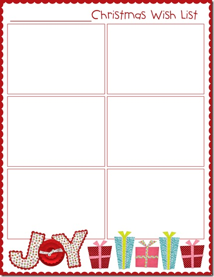 Christmas Wish List Blank