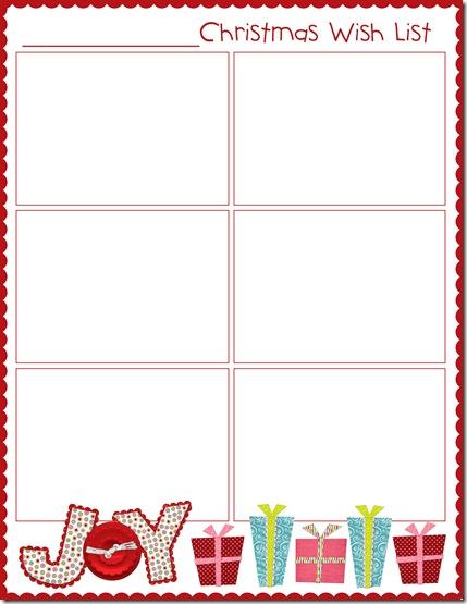 Christmas Wish List Blank