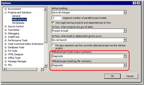 VS2010 Tools Options Dialog