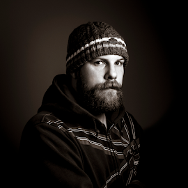 Self Portrait  by Kain Dear - People Portraits of Men ( single, hoodie, beard, self portrait, light, hat )