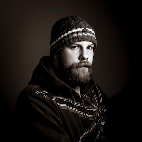 Self Portrait  by Kain Dear - People Portraits of Men ( single, hoodie, beard, self portrait, light, hat )