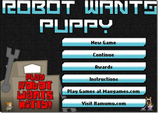 Robot wants puppy free web game (title)