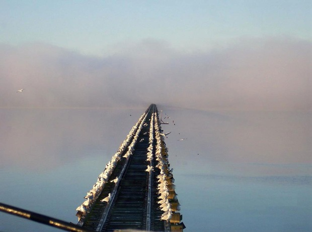 Railroad in fog at New Bern, North Carolina, USA